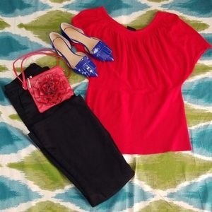 plus size Red TORRID scallopped sleeve top sz 2